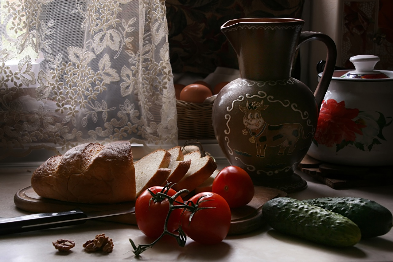 Image Knife Tomatoes Cucumbers Bread Jug container Food Sliced food Still-life jugs pitcher