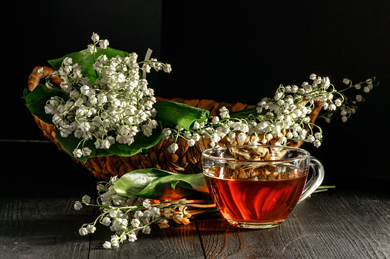 Photo Tea flower Wicker basket Lilies of the valley Cup Food Flowers