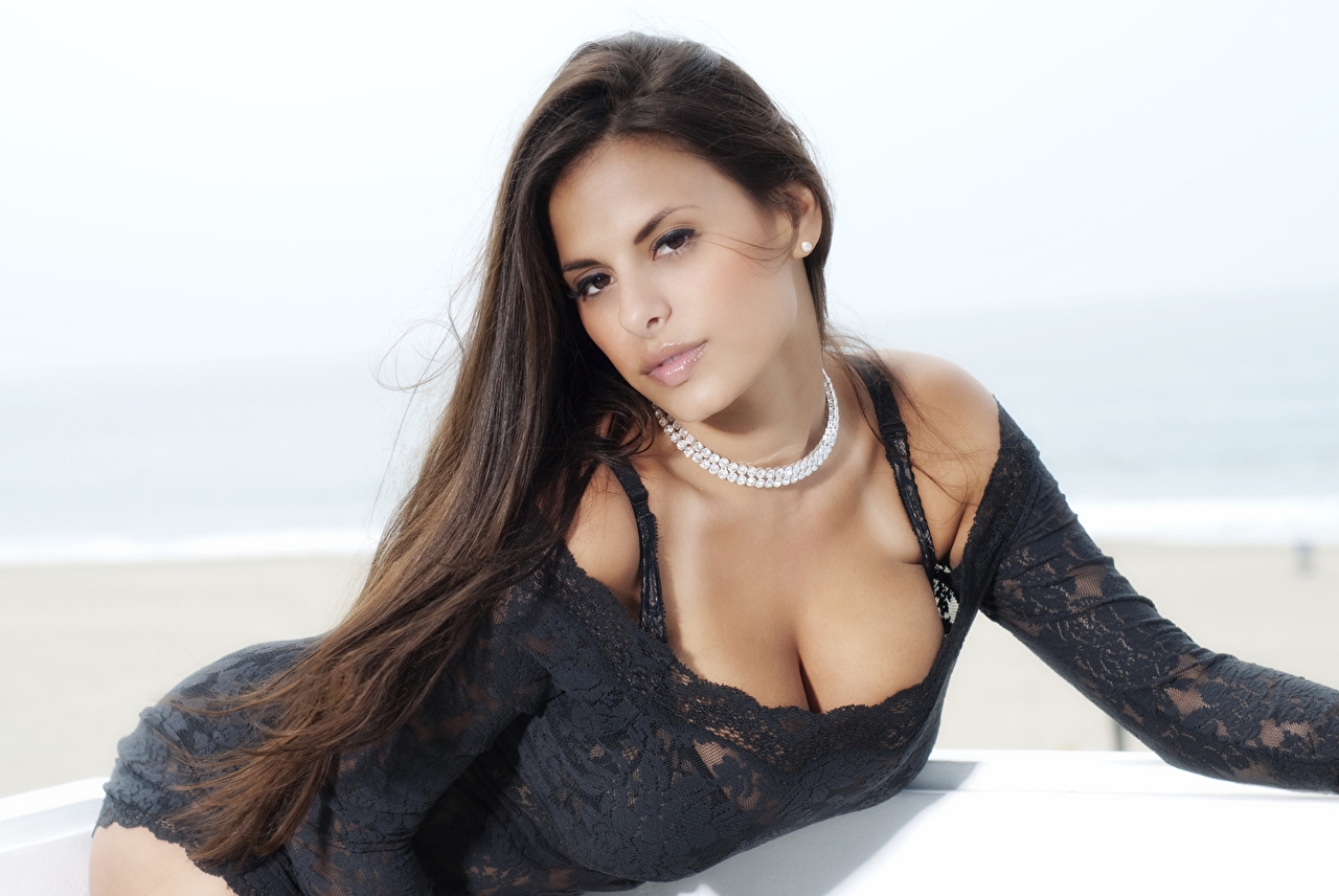 Pictures Wendy Fiore Brunette girl posing young woman Glance frock Pose Girls female Staring gown Dress