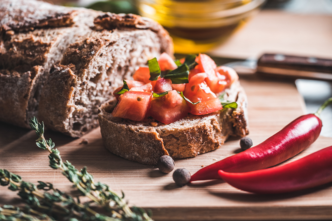 Photo Tomatoes Chili pepper Bread Butterbrot Food Spices Seasoning