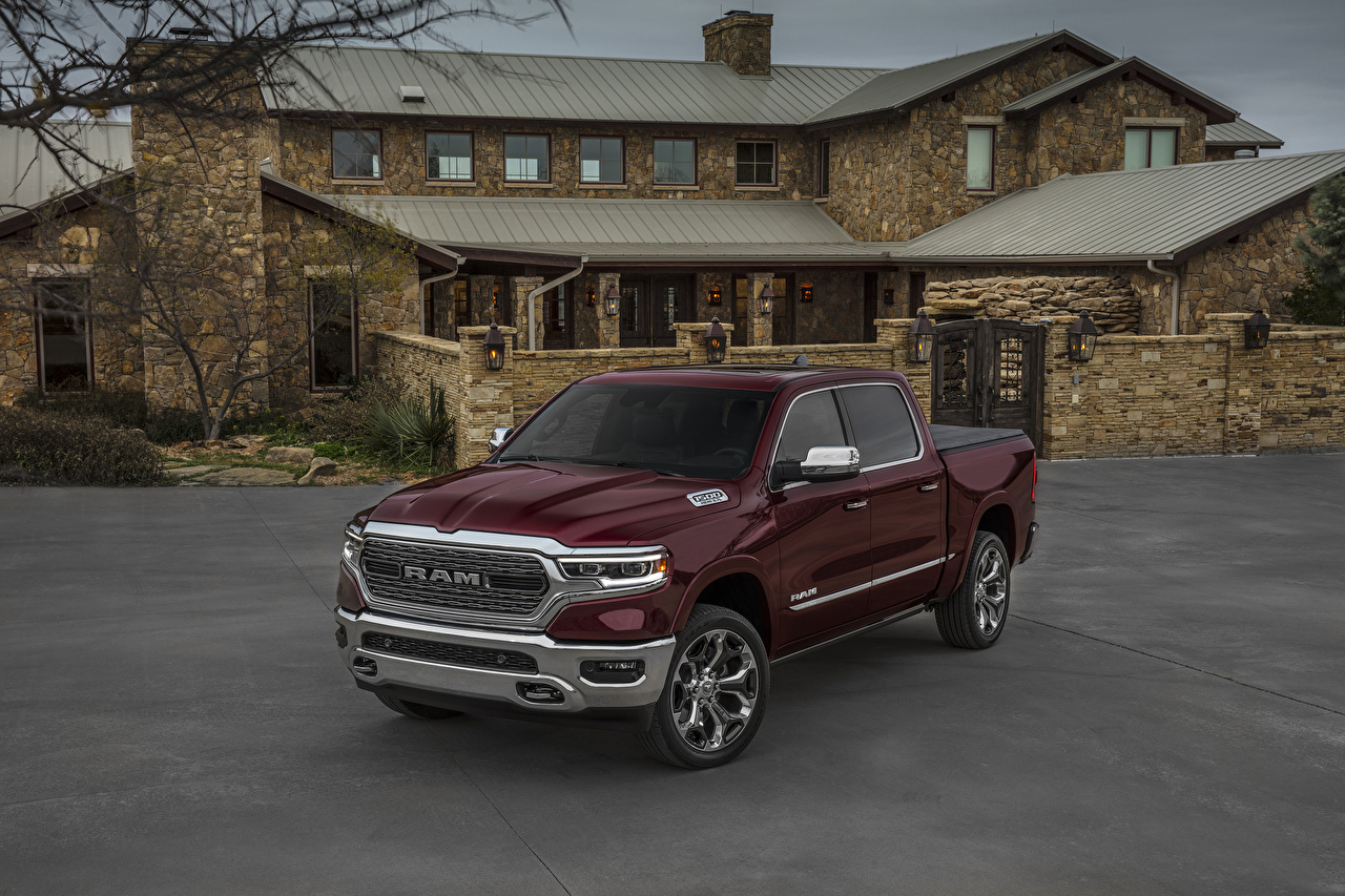 Photos Dodge 2019 Ram 1500 Limited Crew Cab Pickup Burgundy Cars