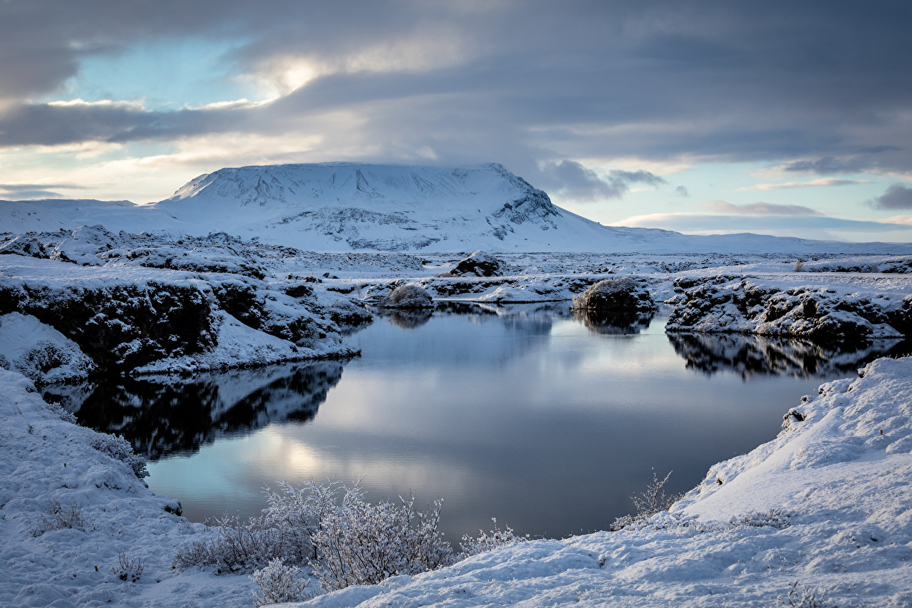Picture Iceland Myvatn Nature Mountains Lake Clouds mountain