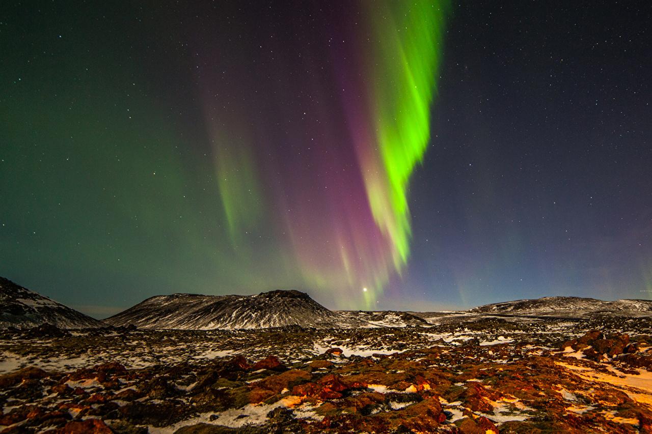 壁紙 ノルウェー オーロラ 夜 丘 自然 ダウンロード 写真