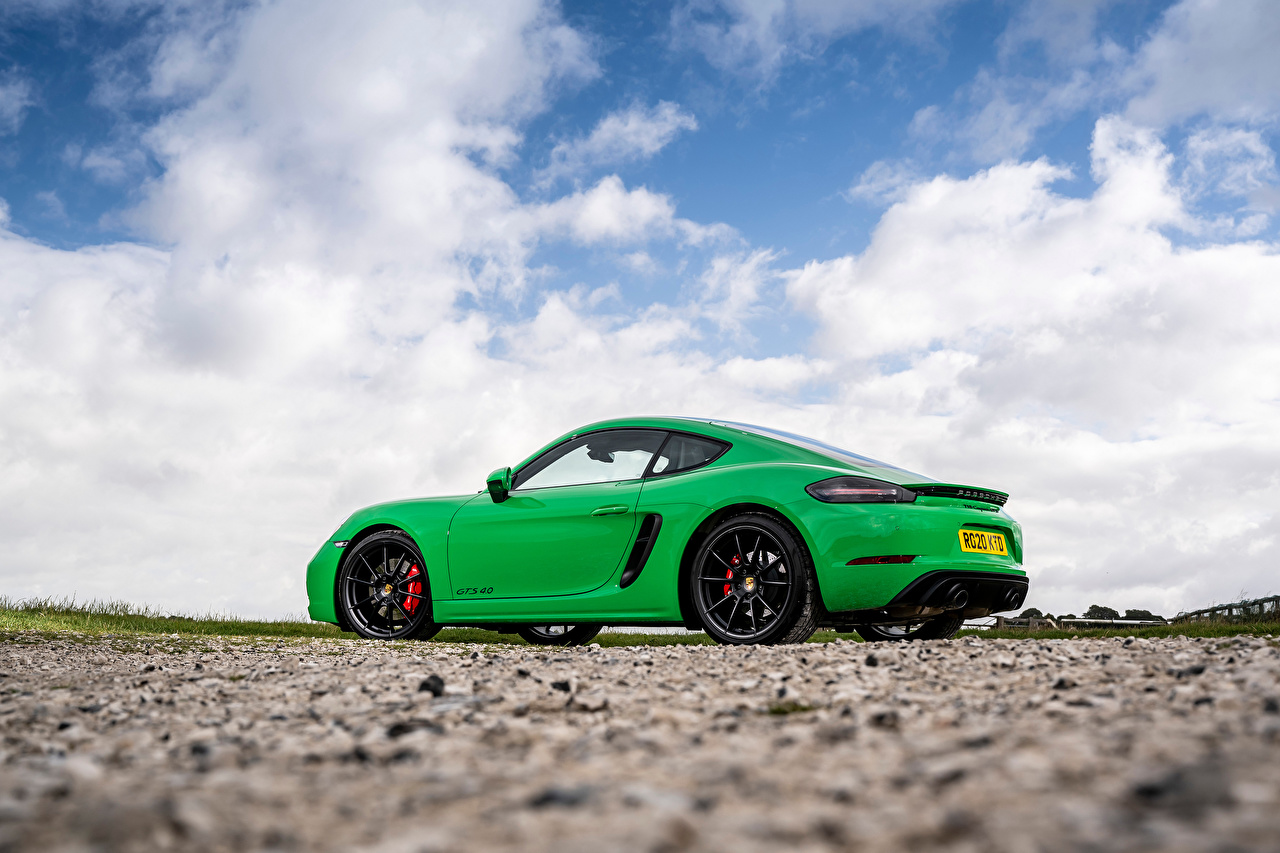 Wallpaper Porsche 718 Cayman GTS 4.0, 982C, UK-spec, 2020 Coupe Green auto Side Metallic Clouds Cars automobile