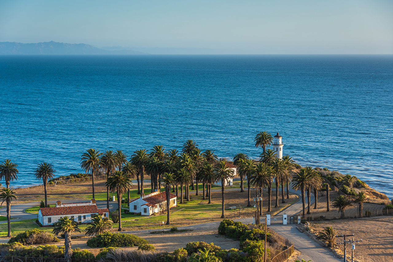 Pictures California USA Point Vicente Lighthouse Nature Lighthouses palm trees Coast Houses Palms Building