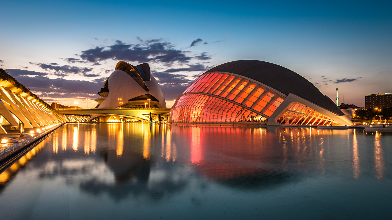 Pictures Spain Valencia City of Arts and Sciences night time Cities Night