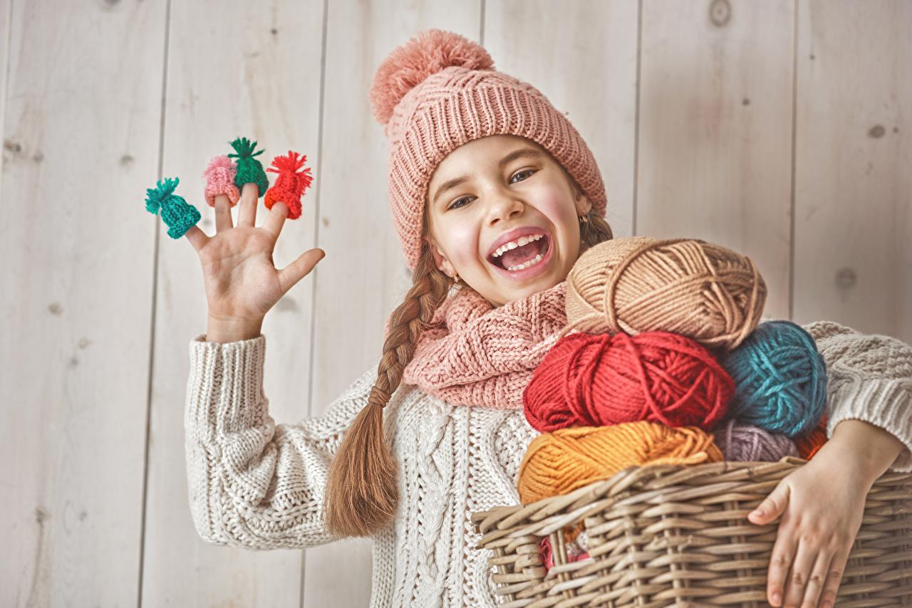 Photo Little girls Joy Children Winter hat Fingers Wood planks happy joyful child boards
