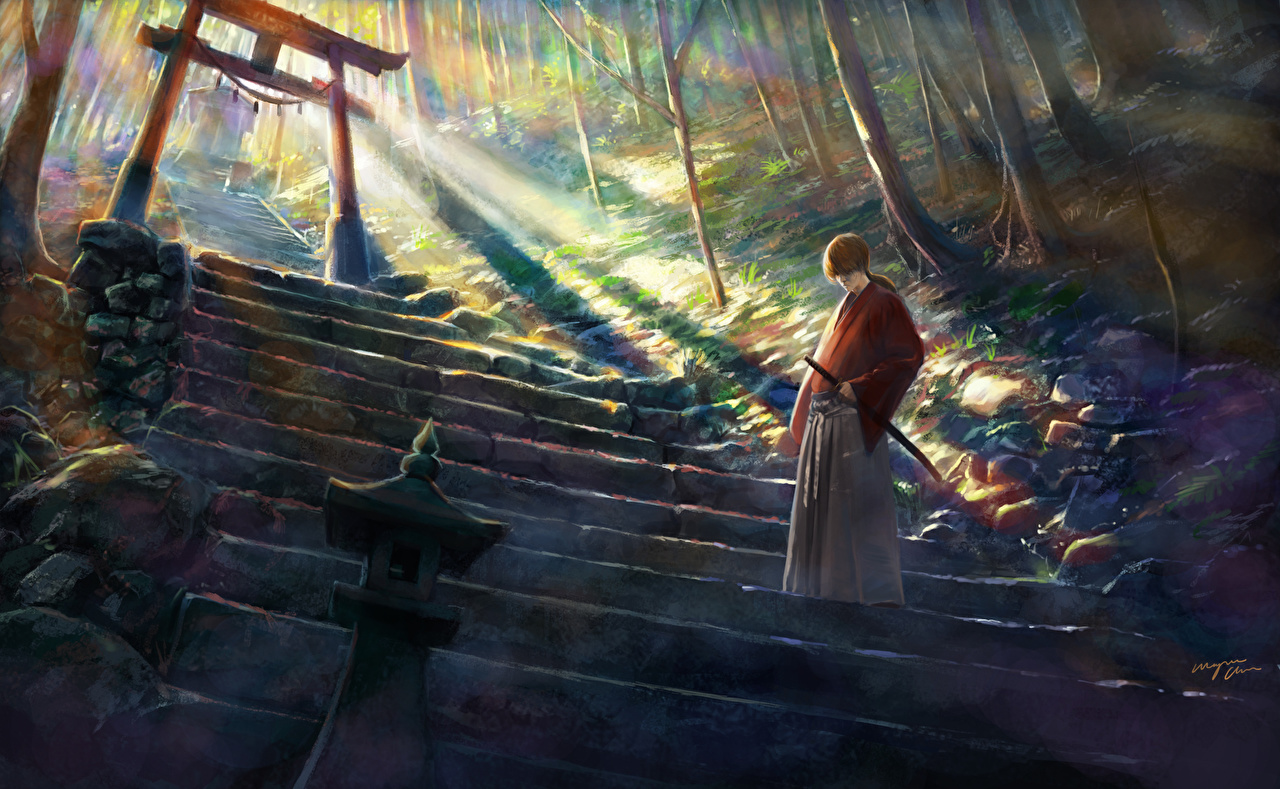 壁紙 るろうに剣心 明治剣客浪漫譚 Shitub52 Himura Kenshin 階段