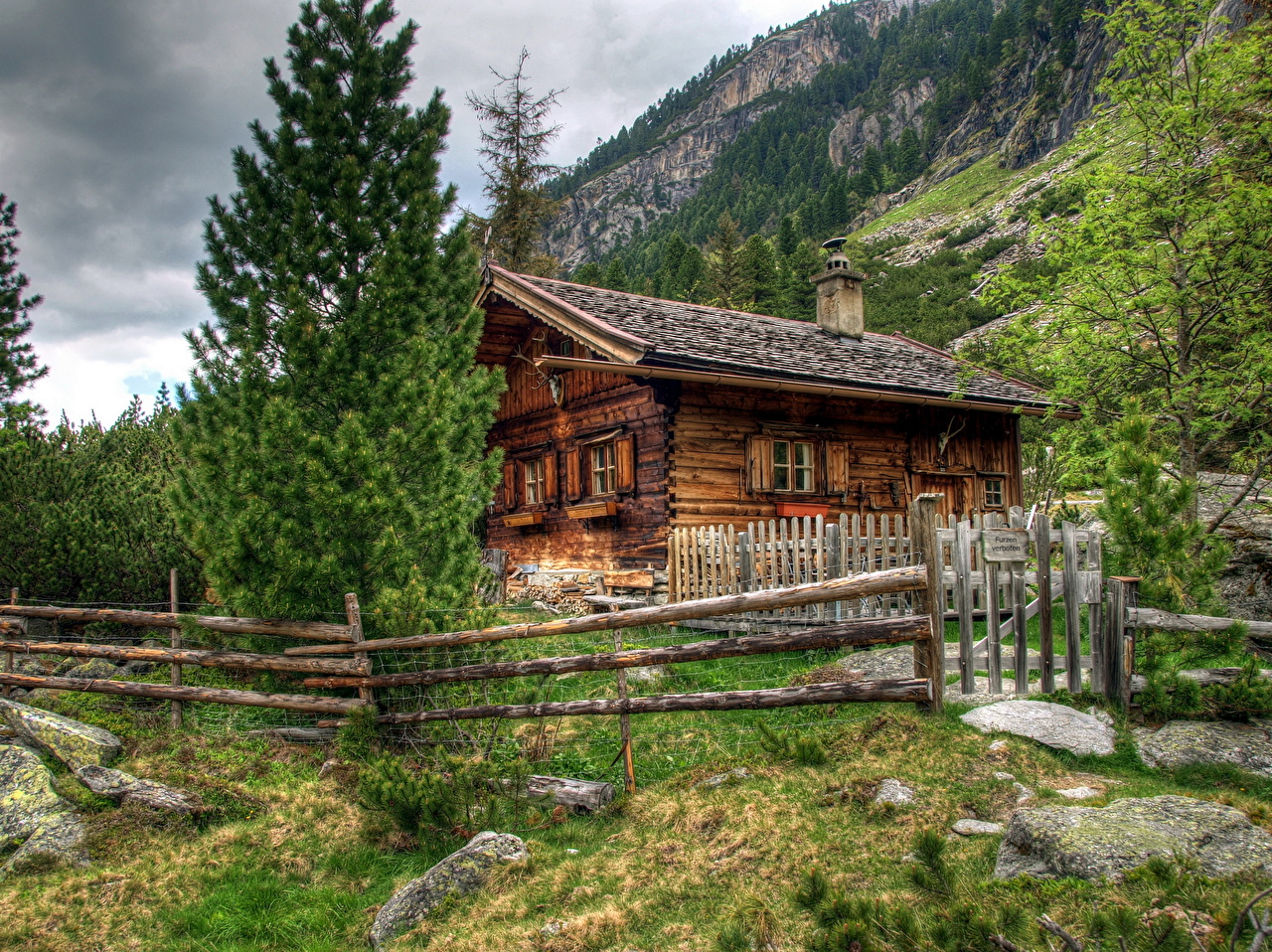 Wallpaper Alps Austria Fence from wood Cities Building Wooden Houses