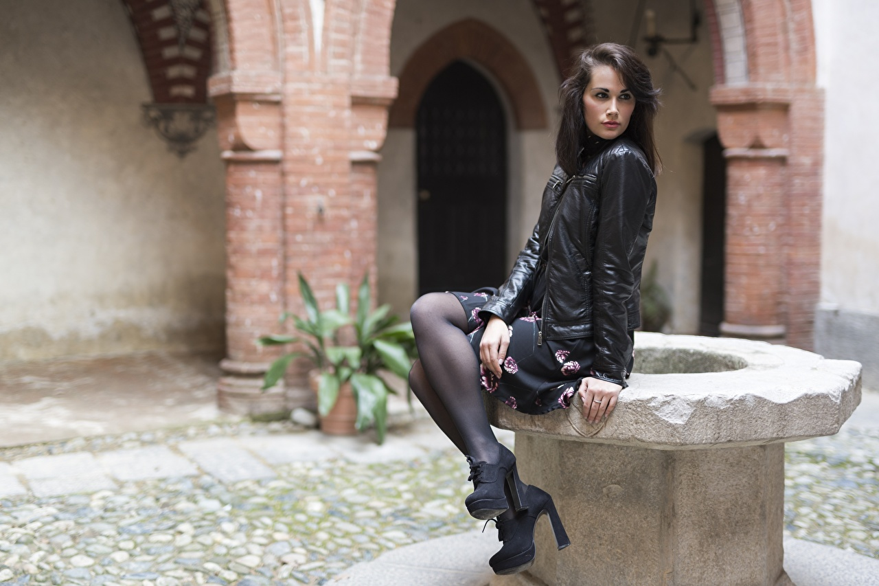 Wallpaper Pantyhose Brunette girl Martina Jacket female Legs sit Side Stilettos Girls young woman Sitting high heels