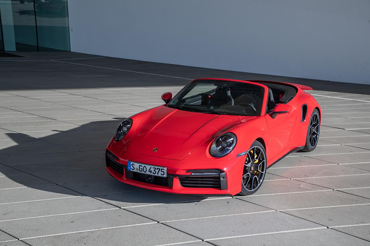 Desktop Wallpapers Porsche 2020 911 Turbo S Cabriolet Worldwide Convertible Red auto Cars automobile