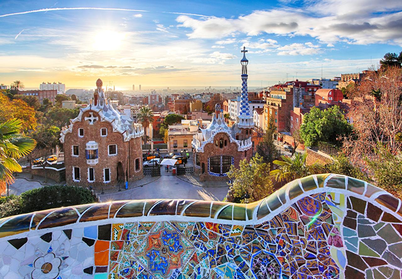 壁紙 スペイン 公園 住宅 Park Guell バルセロナ デザイン 都市 ダウンロード 写真