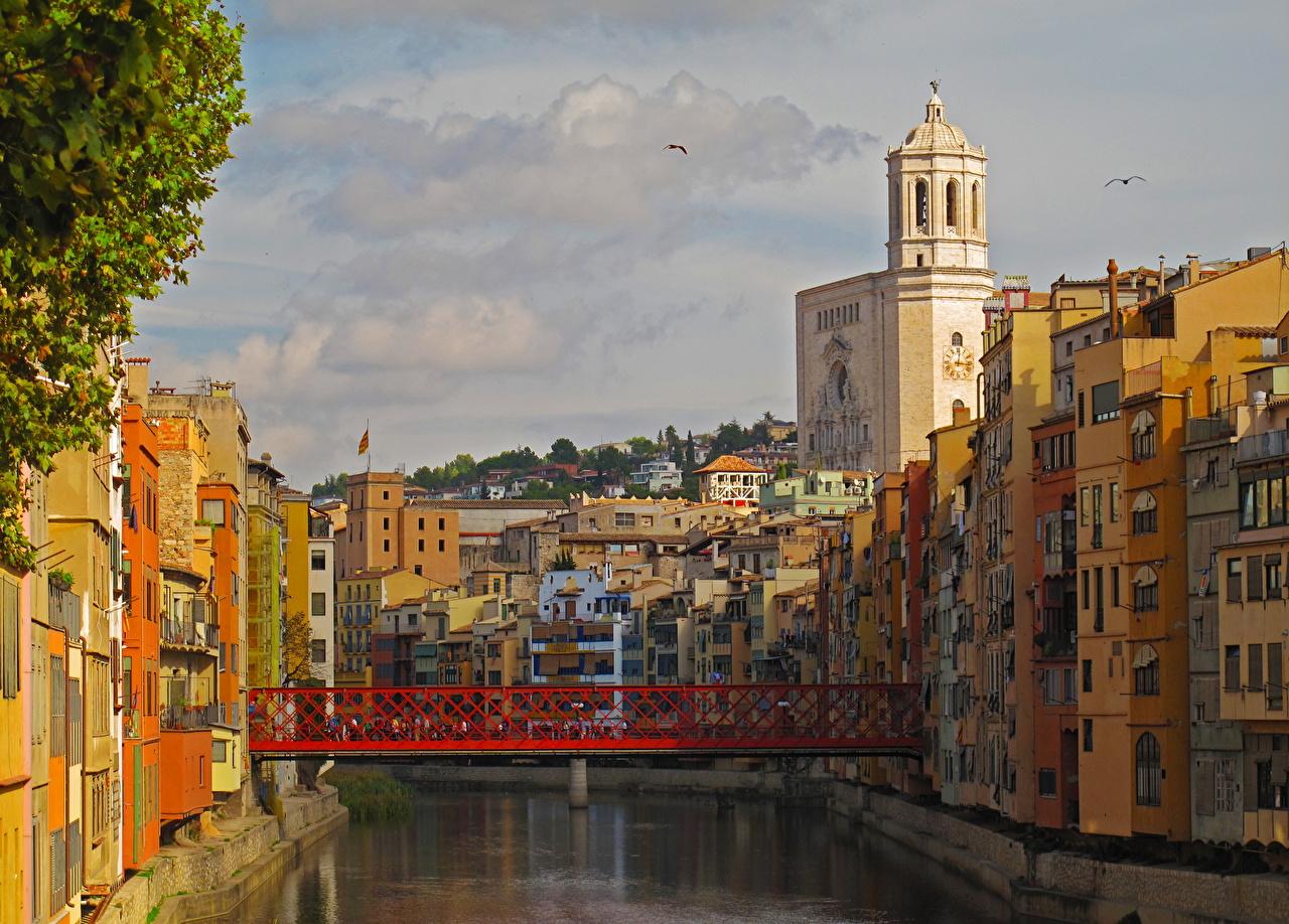 Photo Spain Cataluna Gerona Canal bridge Cities Building Bridges Houses