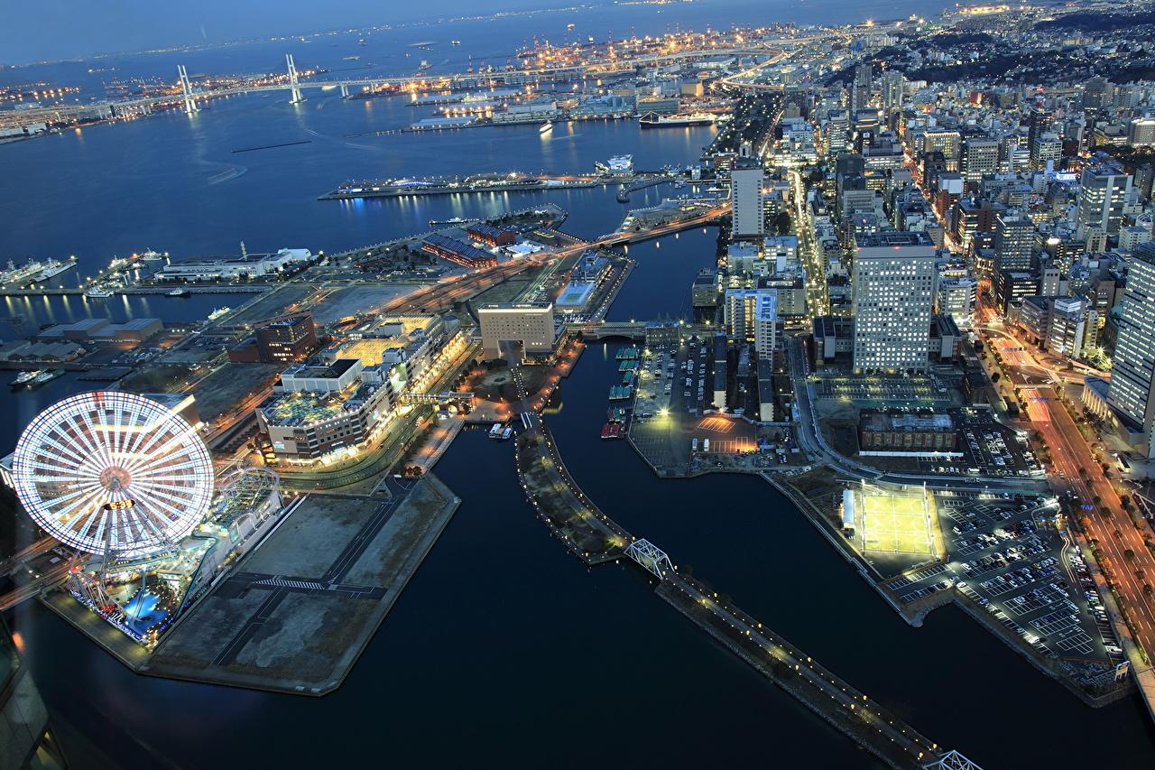 Images Japan Megapolis Yokohama Ferris wheel Coast From above Cities megalopolis
