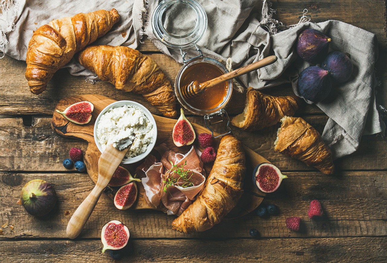 Images Honey Croissant Common fig Ham Raspberry Food Cutting board Wood planks Ficus carica Boards