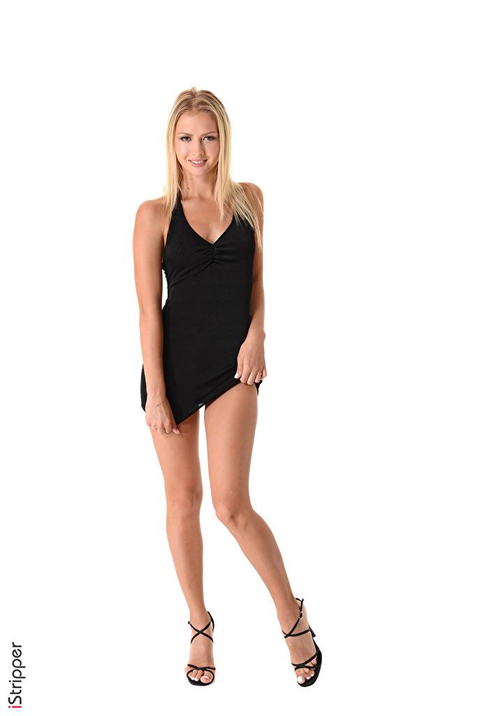 Fotos Blond Mädchen Lächeln iStripper Kristina Mädchens Bein Hand Weißer hintergrund Kleid  für Handy Blondine junge frau junge Frauen