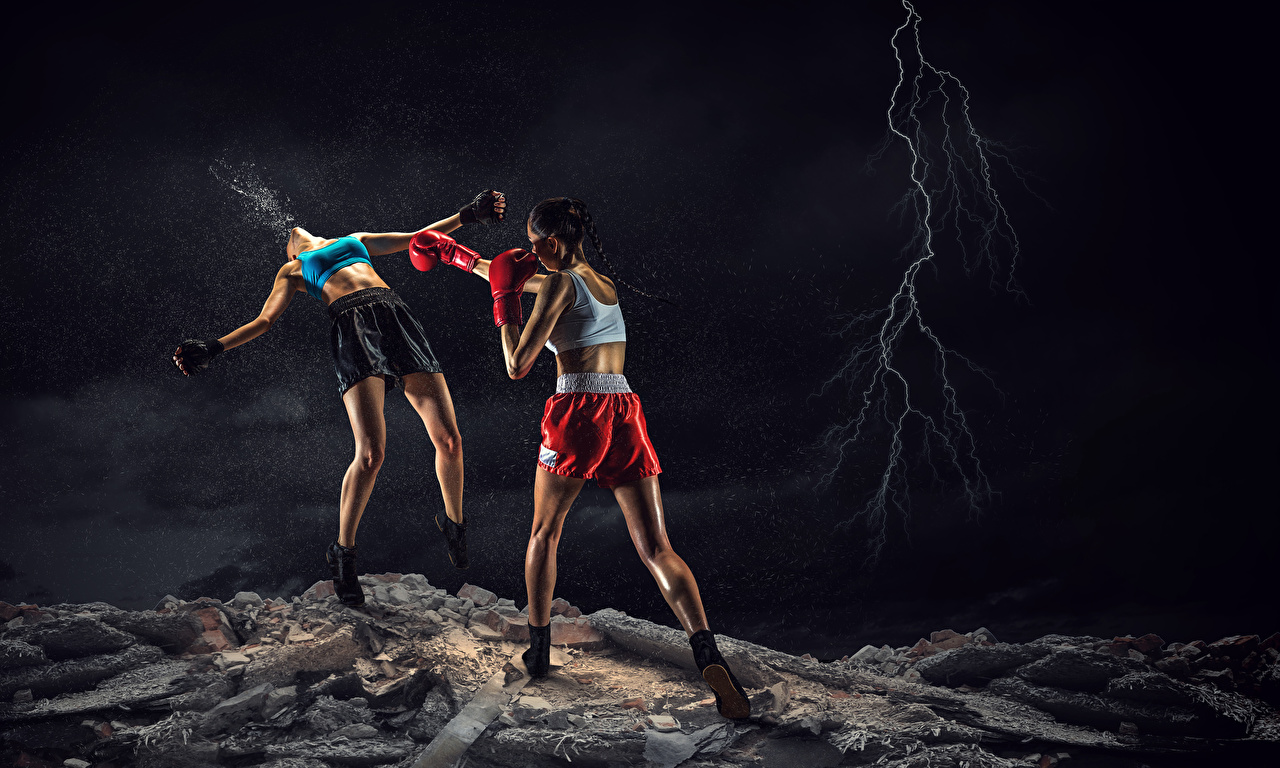 Pictures To hit lightning bolts 2 Fight female athletic Legs Boxing Hands Shorts to beat Lightning Two Girls Sport sports young woman