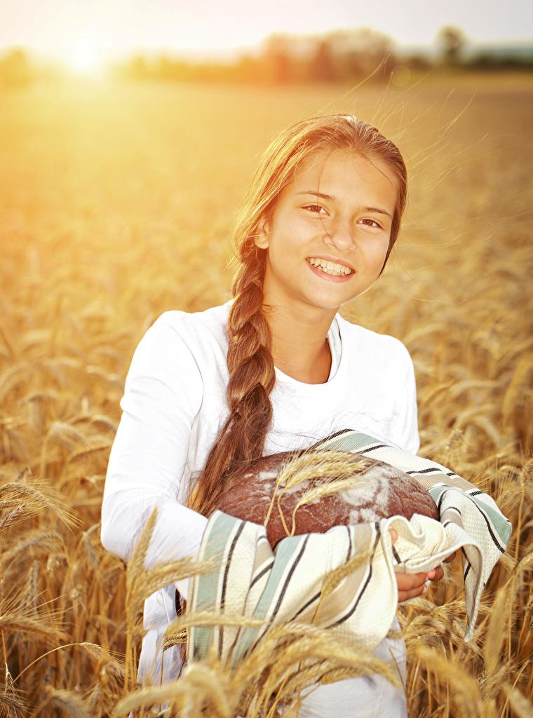 Image Little girls Smile Children Bread Ear botany spike spikes