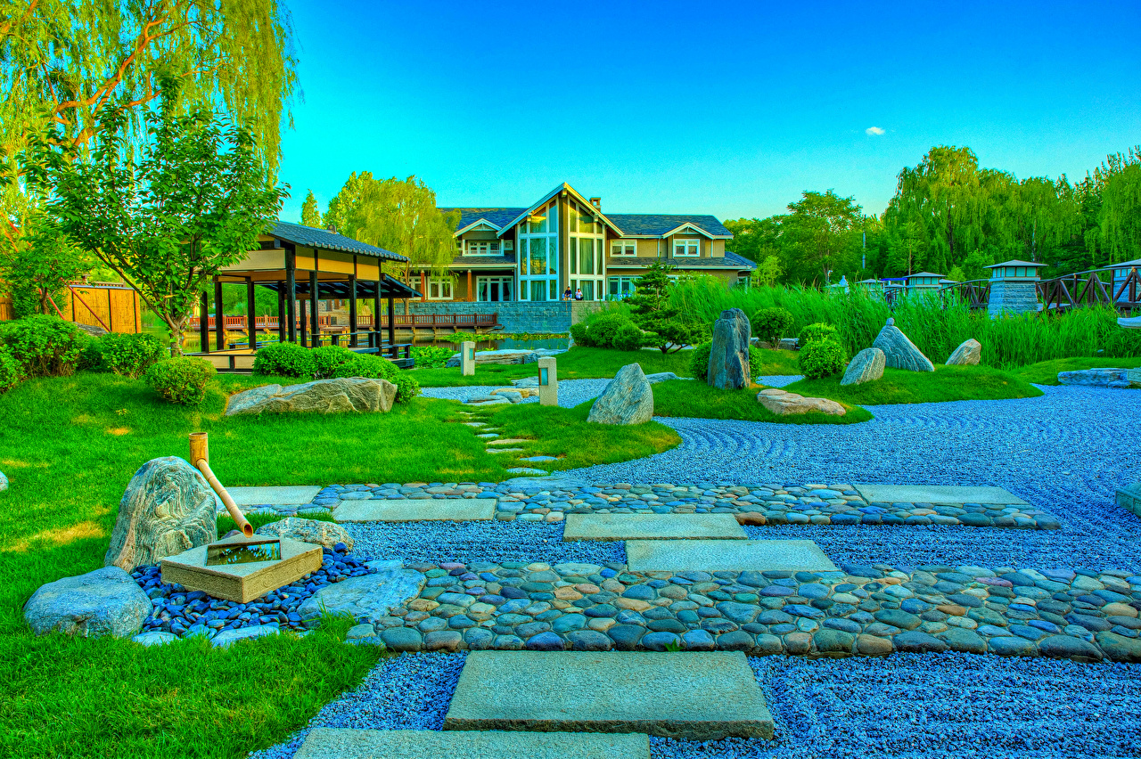 Pictures China Beijing Zen Garden HDRI Nature park Lawn stone Shrubs Design HDR Parks Stones Bush