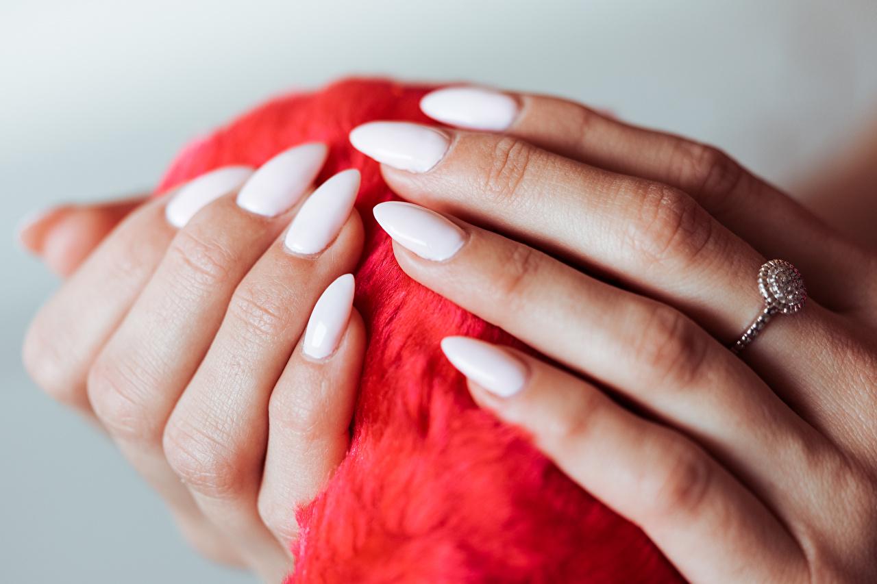 Fotos von Maniküre Weiß Ring Hand Finger hautnah Schmuck Ring Nahaufnahme Großansicht