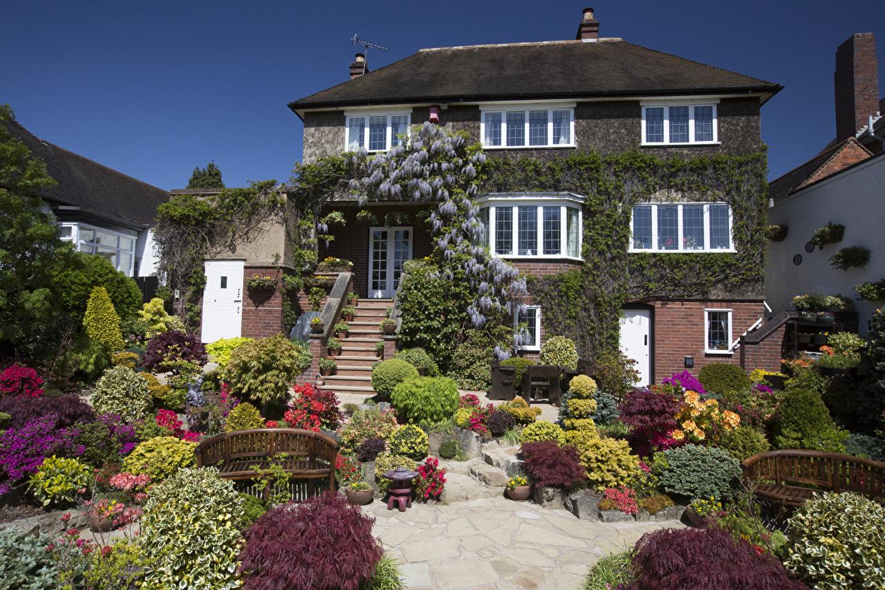 Fotos von England Walsall Garden Natur Garten Strauch Gebäude Landschaftsbau Haus