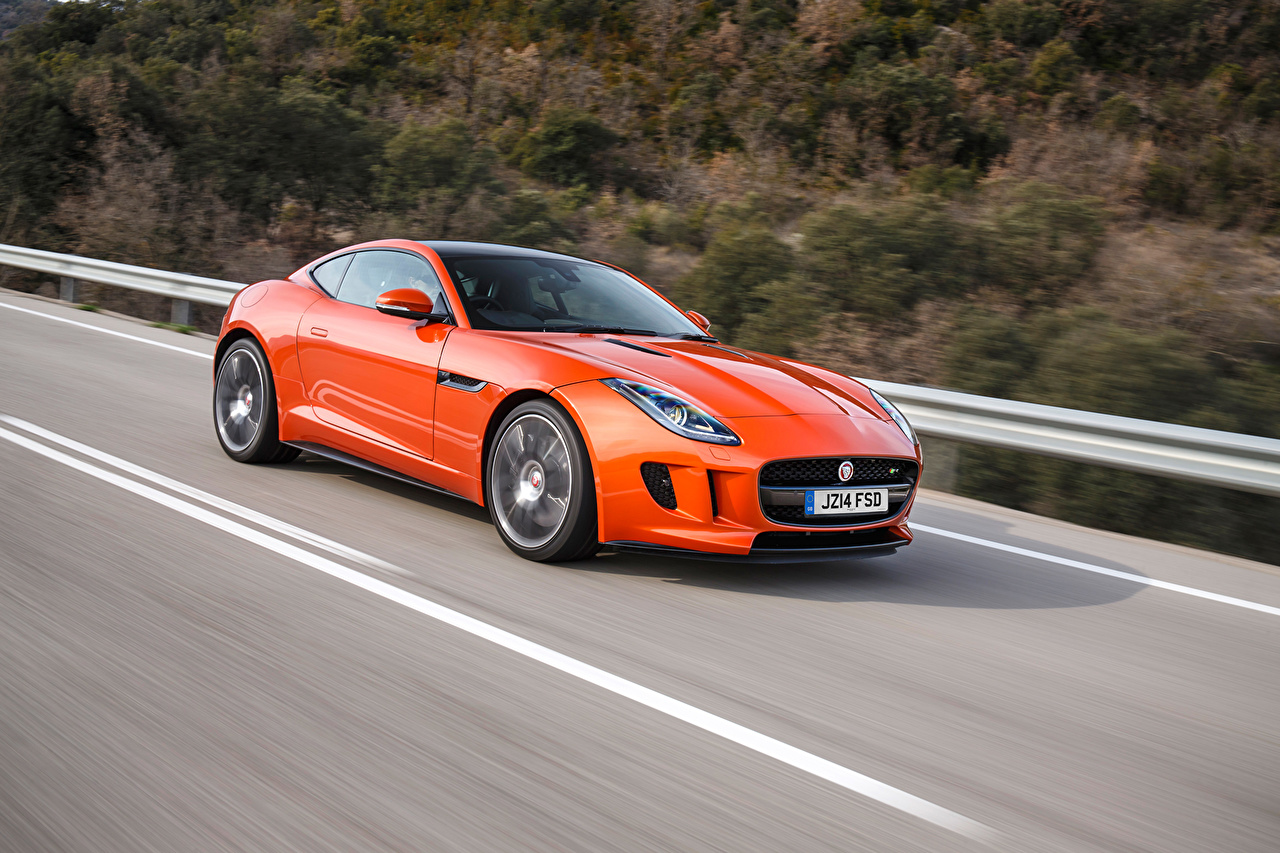 Pictures Jaguar F-Type Orange Motion Cars moving riding driving at speed auto automobile