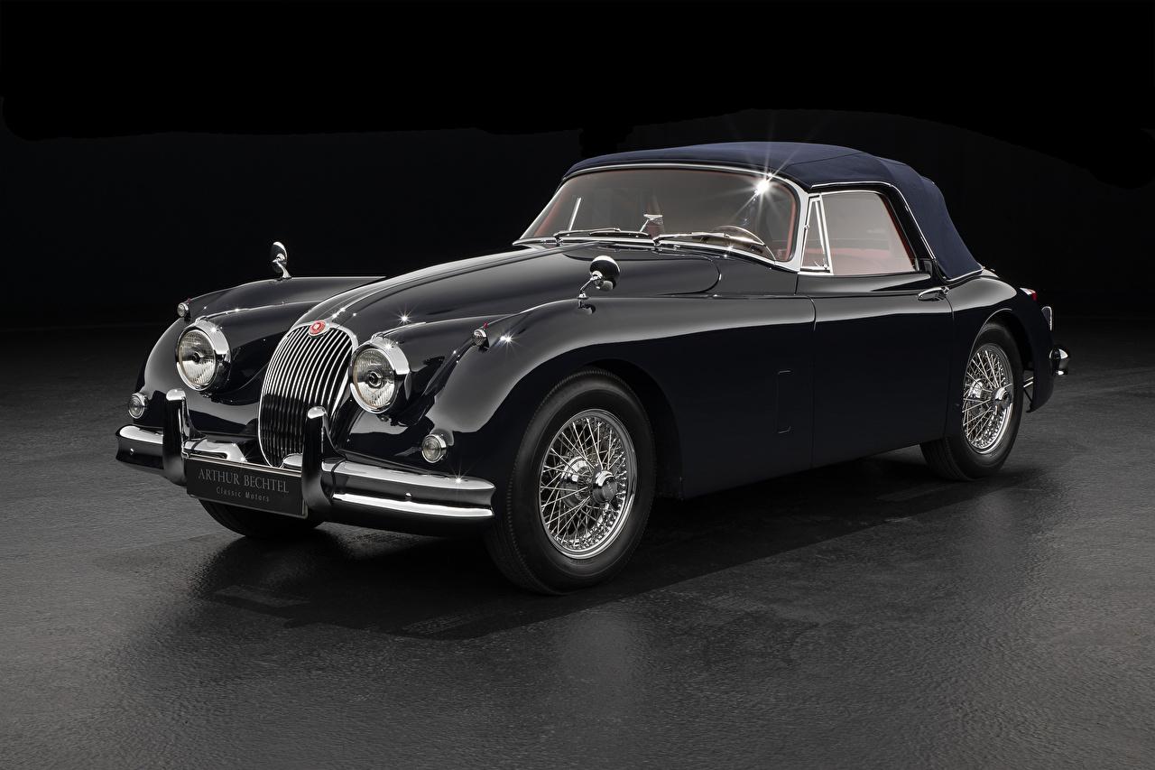 Wallpaper Jaguar 1958-61 XK150 Drophead Coupe Black antique Cars Metallic Gray background Retro vintage auto automobile