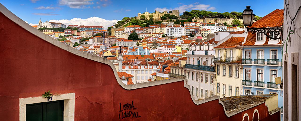 、ポルトガル、リスボン、住宅、全景圖、Castle Hill、屋根、建物、全景攝影、都市、