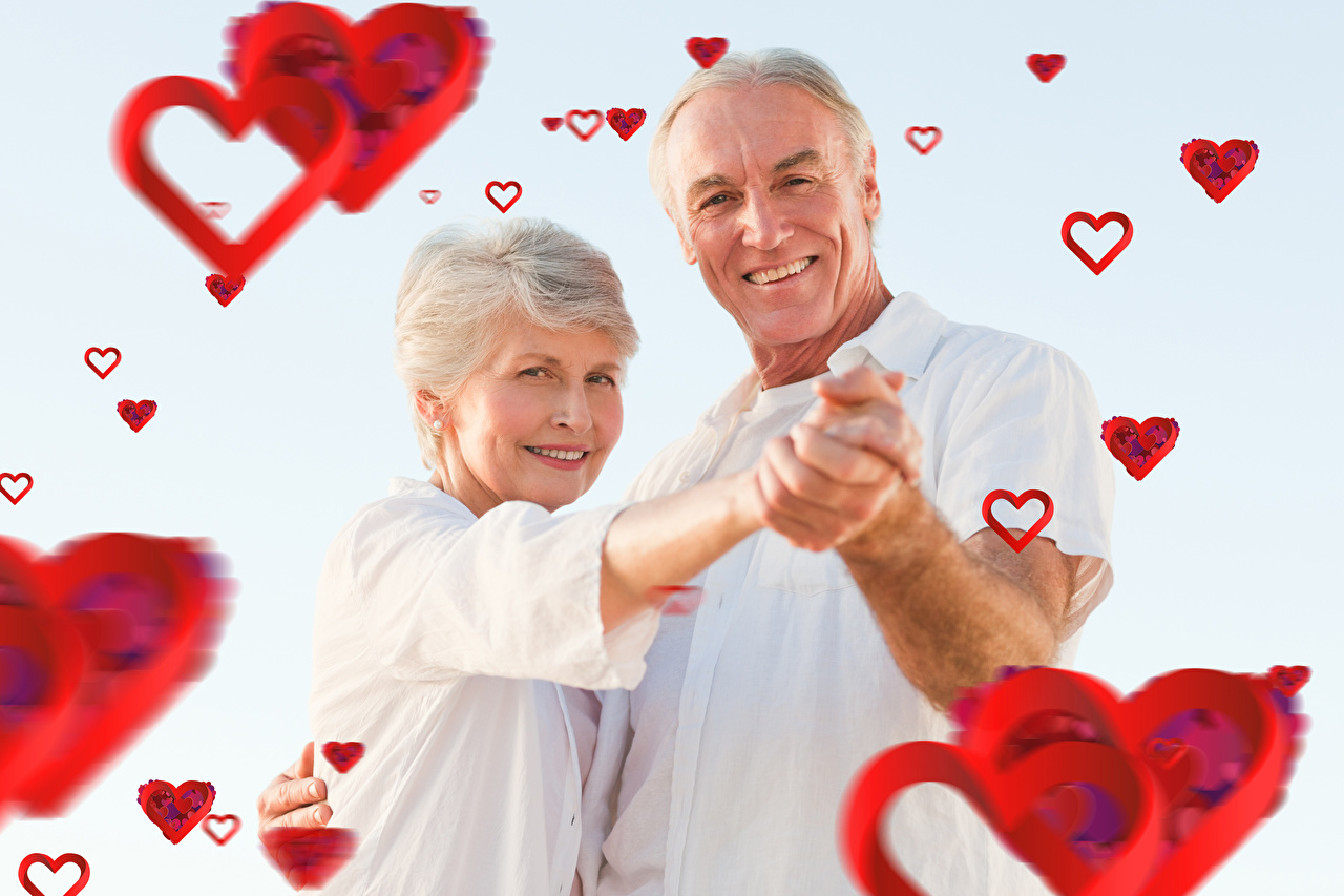 Wallpaper Heart Valentine's Day Men Two Smile woman Love Gray background Adult woman Man 2