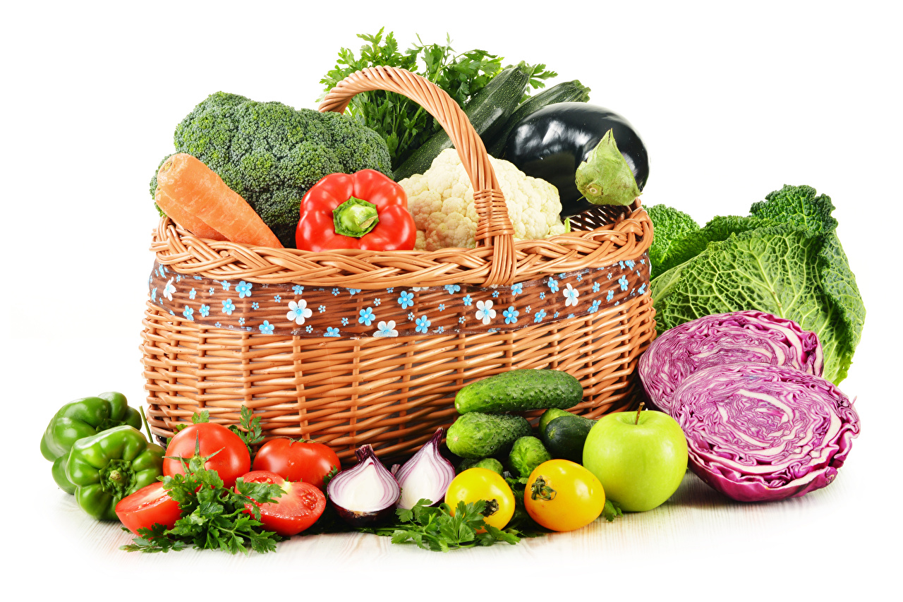 Desktop Wallpapers Cabbage Tomatoes Cucumbers Wicker basket Food Vegetables White background
