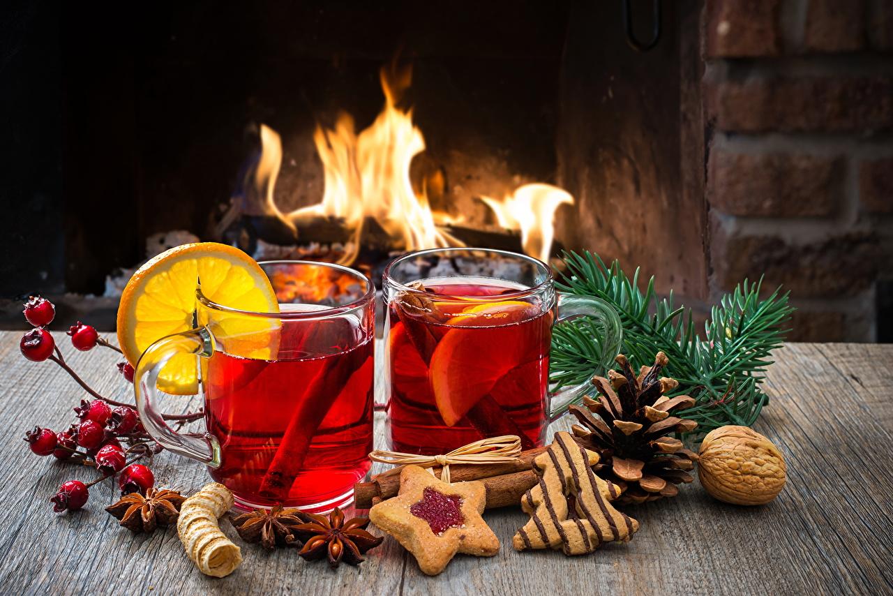 Image Christmas Tea Fire Lemons Highball glass Food Cookies Nuts Holidays Drinks New year flame drink