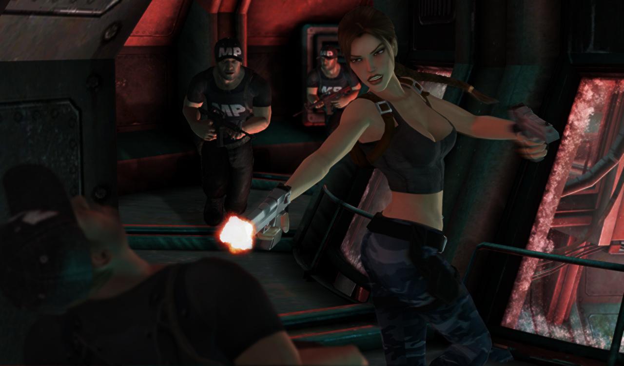 Foto Tomb Raider Tomb Raider The Angel of Darkness Pistolen Lara Croft Mann 3D-Grafik junge Frauen computerspiel Pistole Mädchens junge frau Spiele