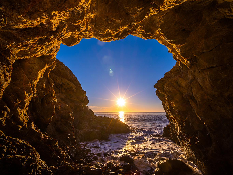 Images California USA El Matador Beach Sun Rock Ocean Nature Crag Cliff