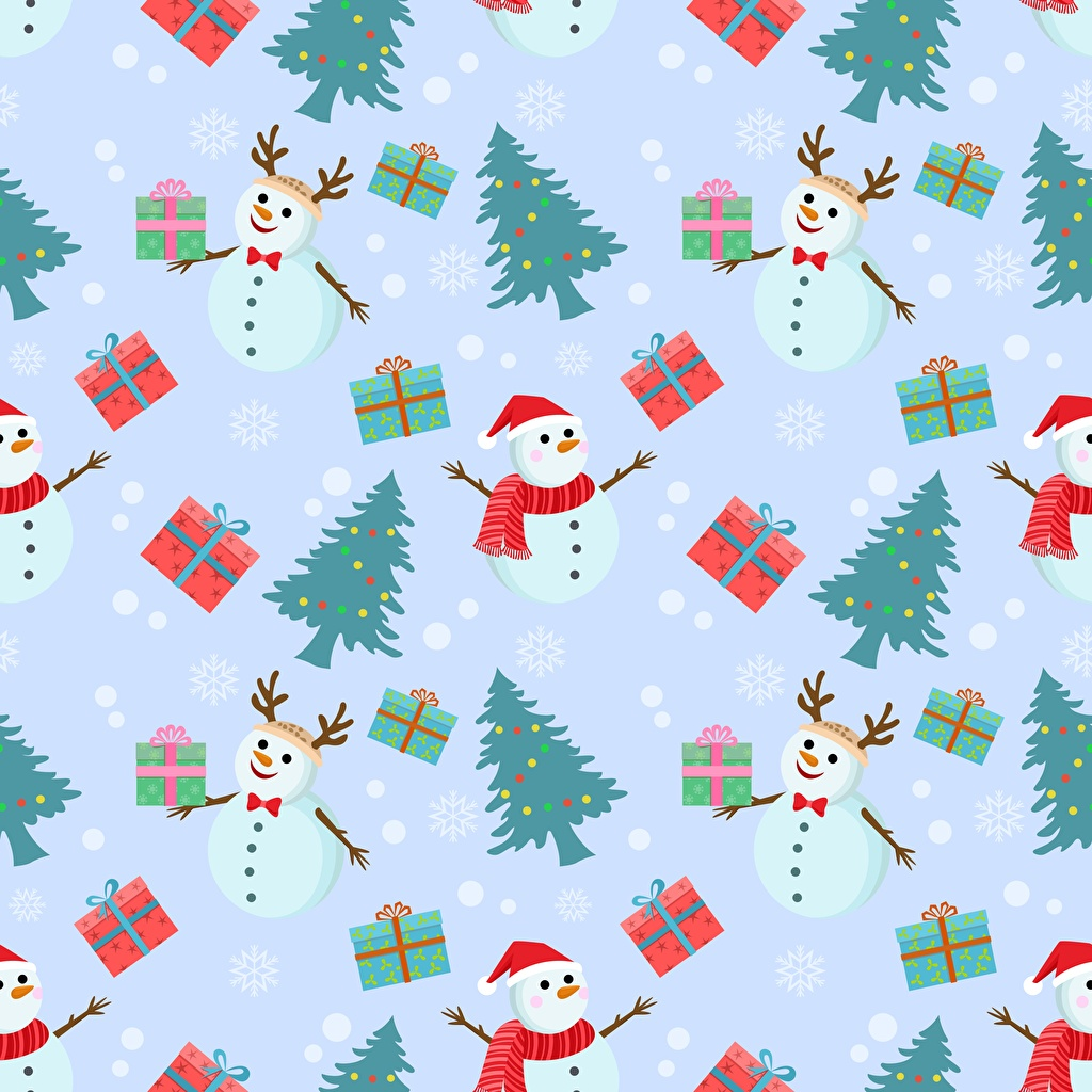 Tapeta Tekstura Nowy Rok Choinka świąteczna Prezenty Bałwany bożego narodzenia Choinka