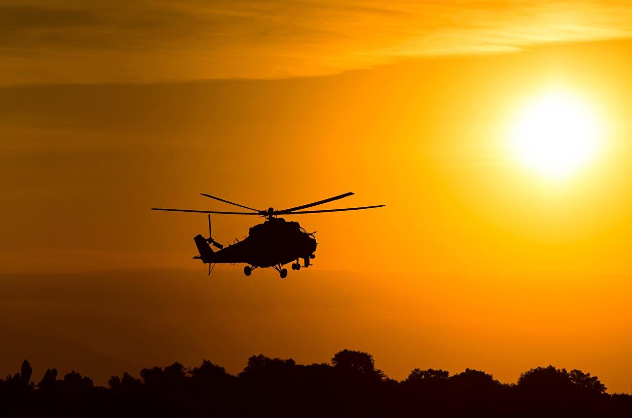 Fotos von Hubschrauber Russische Silhouette Mil Mi-24 Luftfahrt russisches russischer Silhouetten