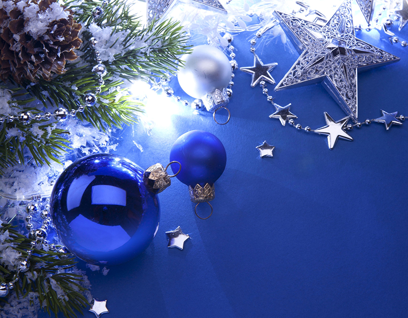 Desktop Wallpapers New year Blue Balls Branches Holidays