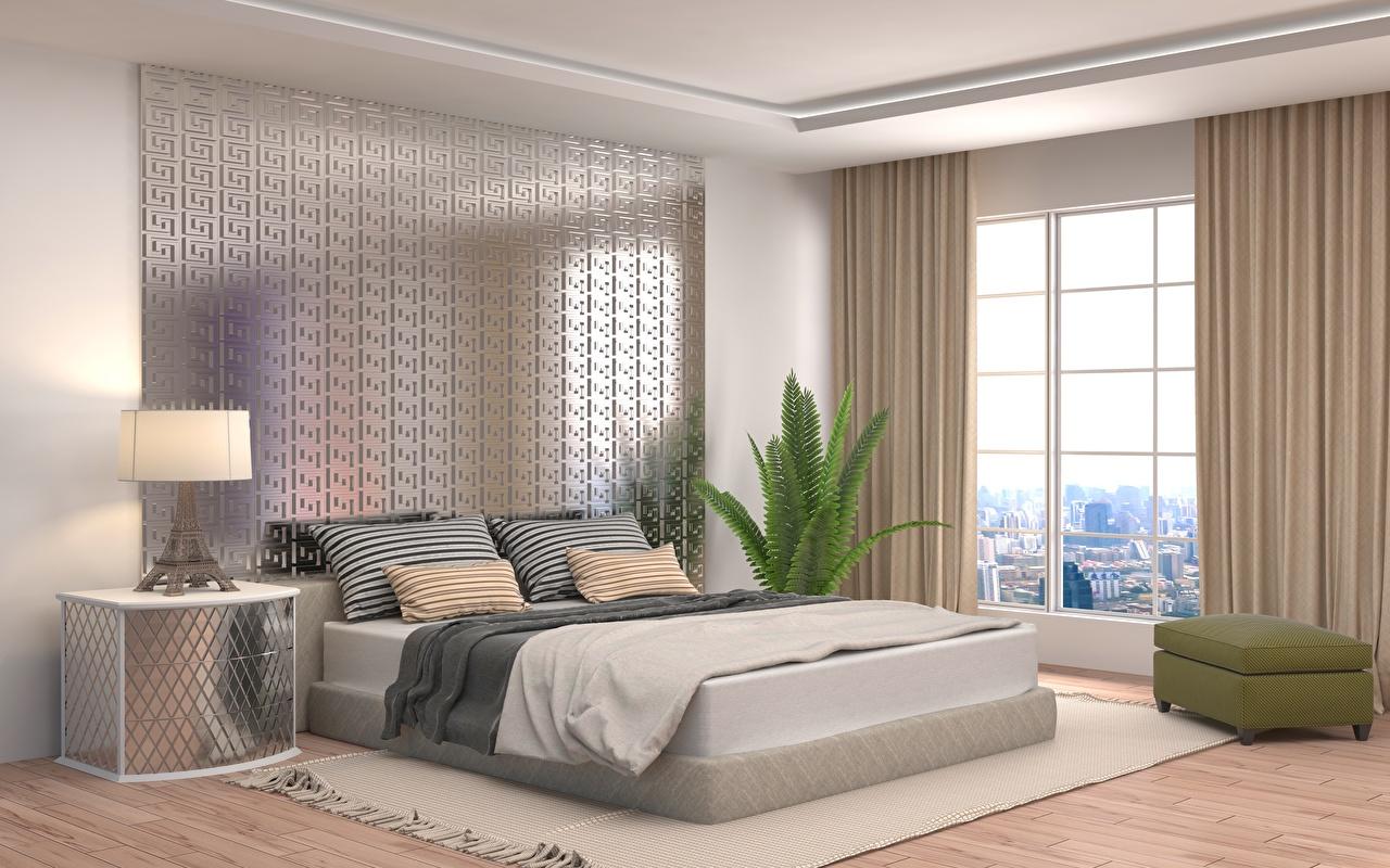 Afbeeldingen Slaapkamer 3D graphics Interieur Bed Vloerlamp Kussen Ontwerp 3D afbeelding 3D afbeeldingen lamp