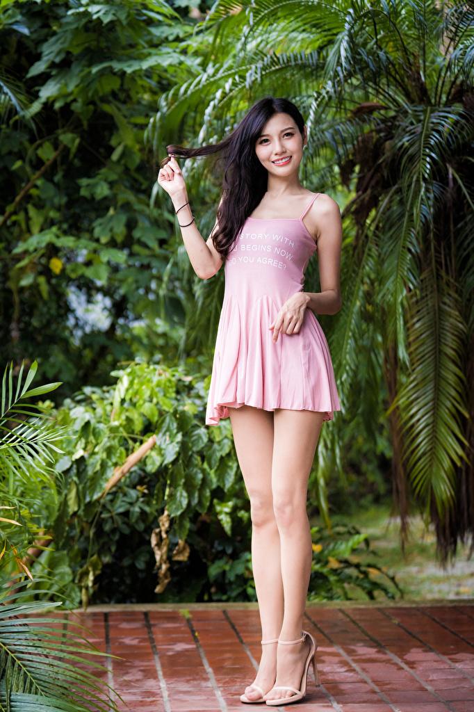 Desktop Hintergrundbilder Brünette Lächeln Mädchens Bein Asiaten Kleid  für Handy junge frau junge Frauen Asiatische asiatisches