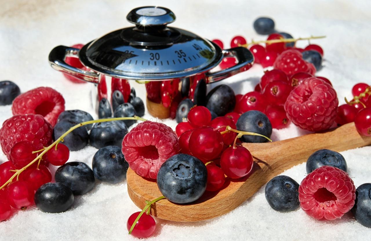 Wallpaper Currant Raspberry Blueberries Food Berry Spoon