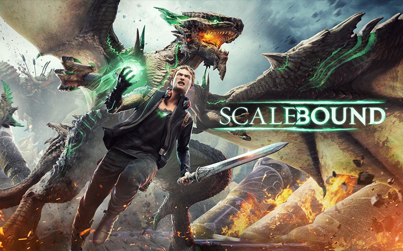 Desktop Wallpapers dragon Swords Warriors Scalebound microsoft xbox one platinum games Fantasy Games Dragons warrior vdeo game