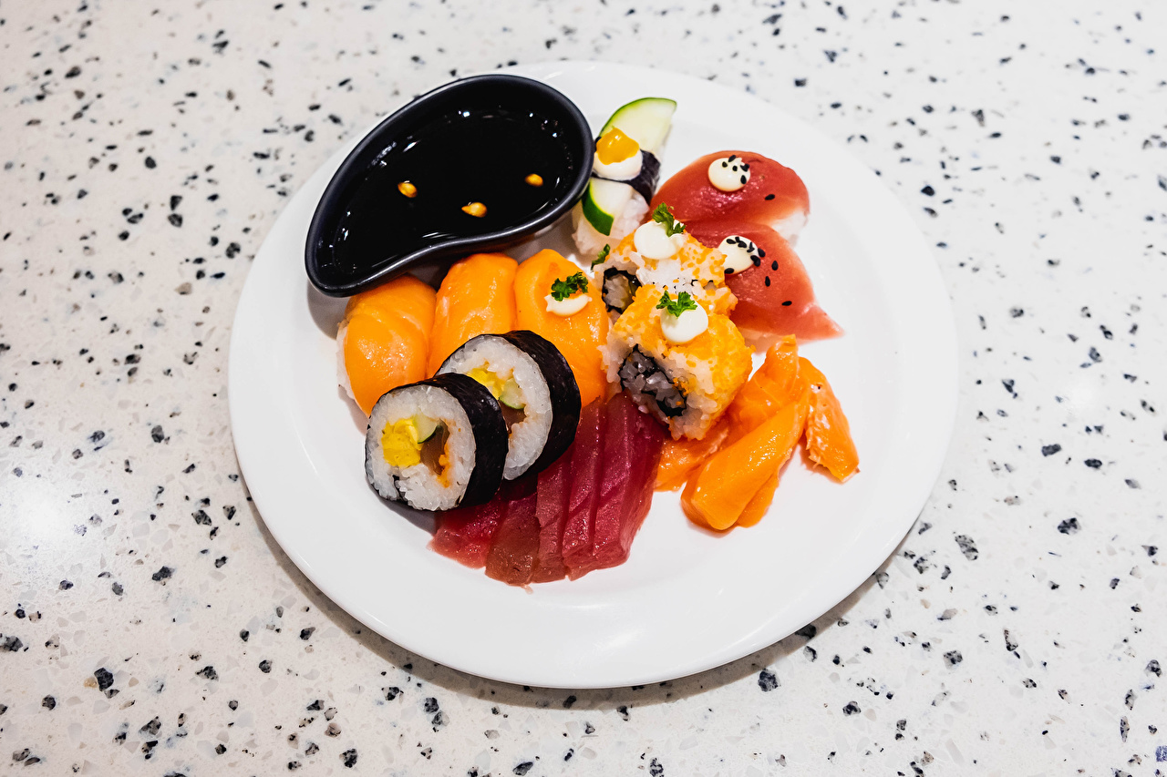 Image Rice Soy sauce Sushi Food Plate Sliced food soya sauce