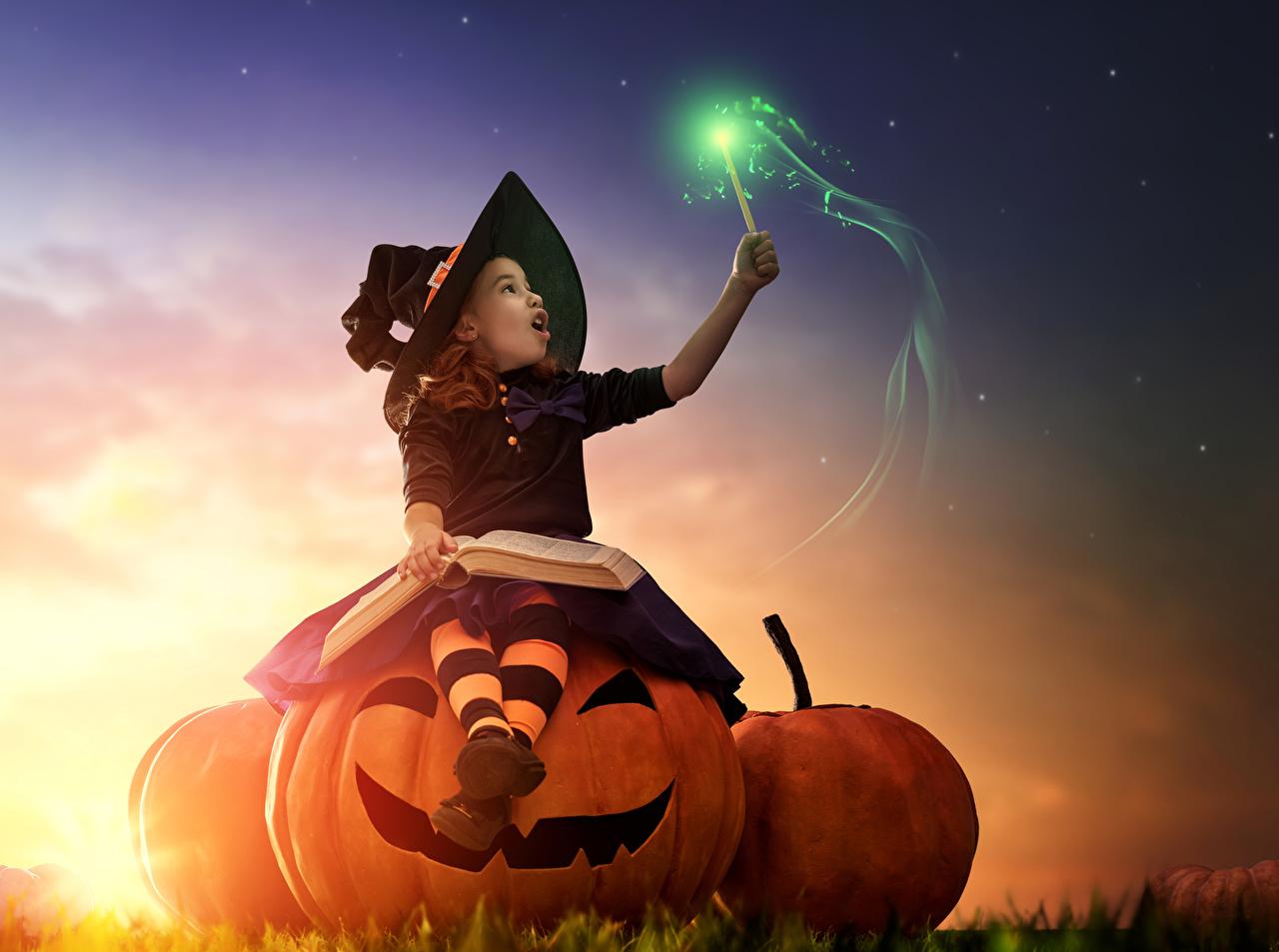 Photos Little girls Magic Witch child Hat Pumpkin Halloween sit books sorcery Children Book Sitting