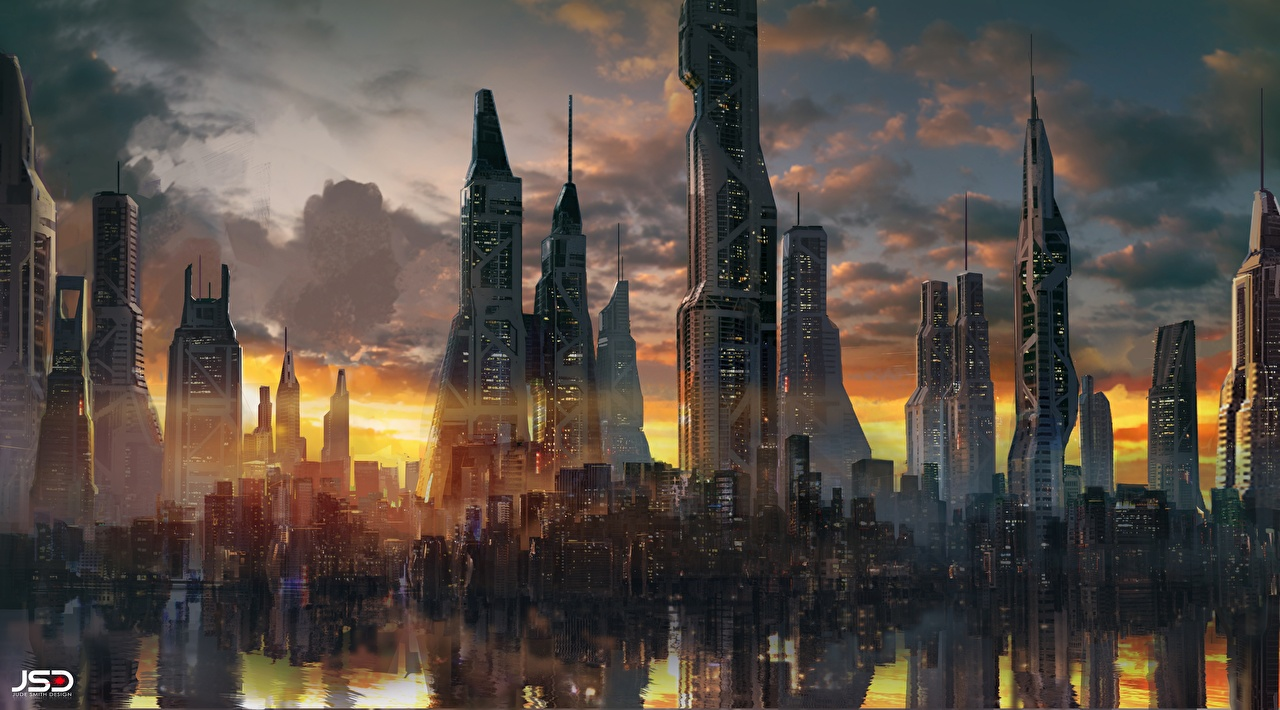 Foto Zion (Before the Fall), Jude Smith Fantasy wolkenkrabber Steden Huizen Wolkenkrabbers gebouw een stad gebouwen