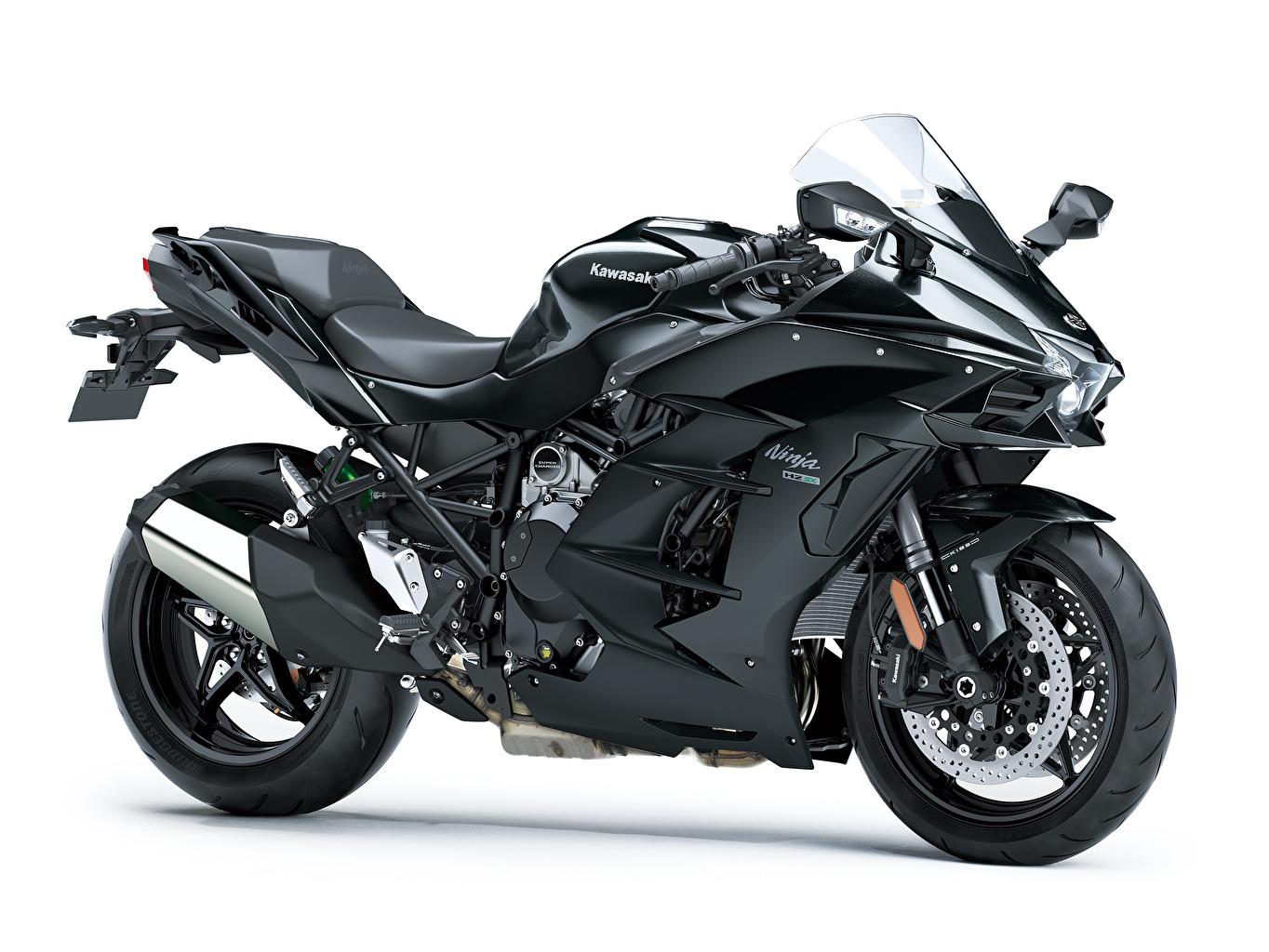 Bilder von Kawasaki Ninja H2 SX, 2018 Schwarz Motorrad Weißer hintergrund Motorräder