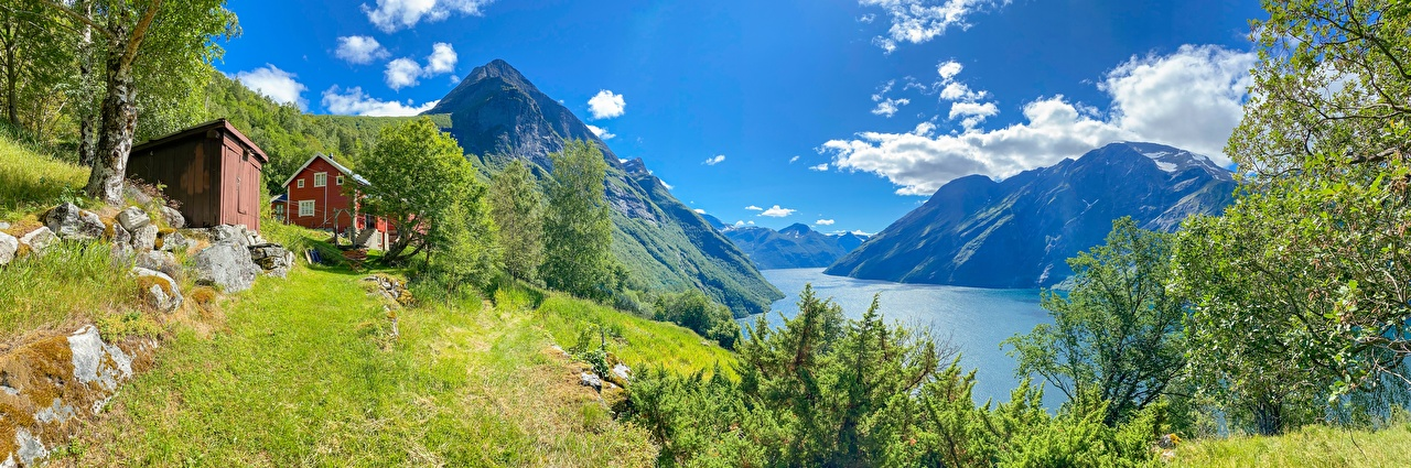 Pictures Nature Norway Eidsdal Trees Fjord Mountains Clouds panoramic mountain Panorama