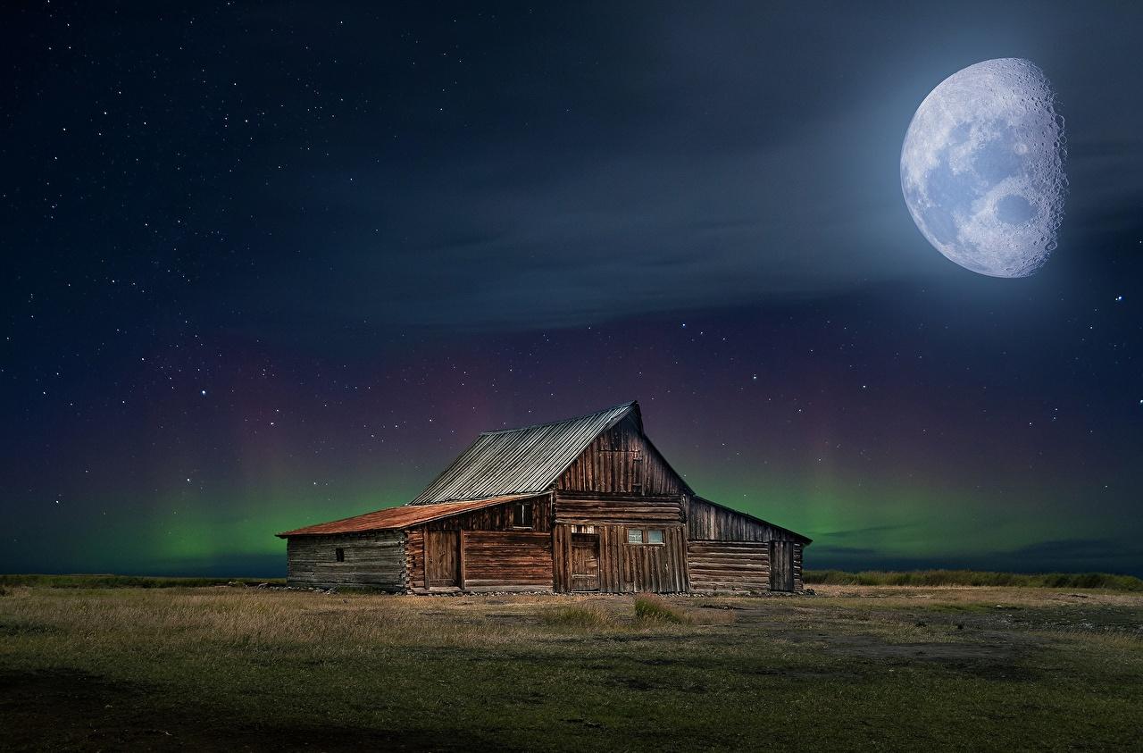 Foto's noorderlicht Natuur Maan Nacht Houten gebouw Poollicht Huizen gebouwen