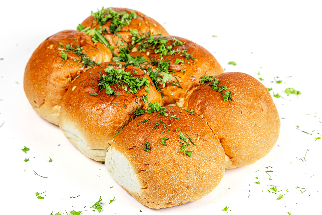 Pictures Buns Dill Food Pastry White background baking