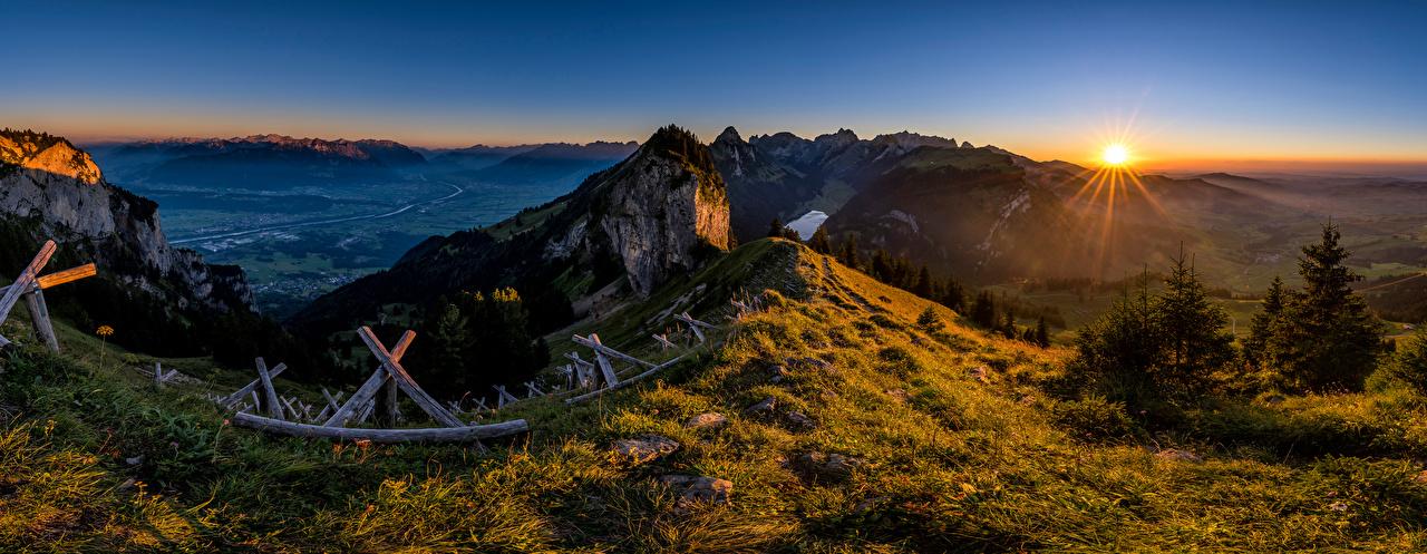 Images Nature panoramic Switzerland Hoher Kasten Sun Alps Mountains Scenery Panorama mountain landscape photography