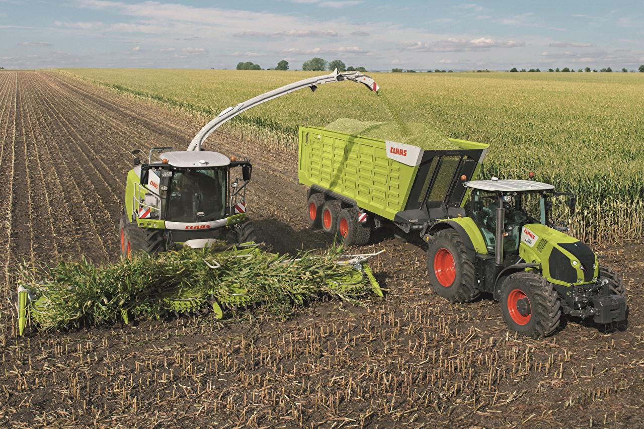 Fonds d'ecran Machinisme agricole Champ Claas Jaguar 980 Claas Axion 830 Tracteur agricole ...