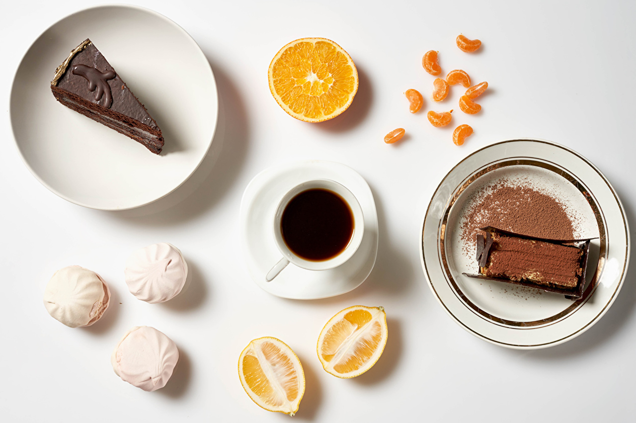 Wallpaper Chocolate Zefir Coffee Breakfast Orange fruit Cocoa solids Cup Food Plate Little cakes Gray background